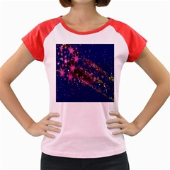 Stars Abstract Shine Spots Lines Women s Cap Sleeve T Shirt