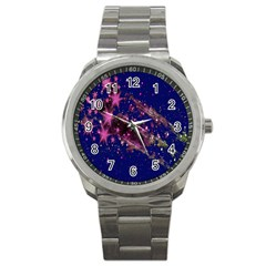 Stars Abstract Shine Spots Lines Sport Metal Watch by Simbadda