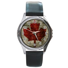 Canada Flag Round Metal Watch by Valentinaart