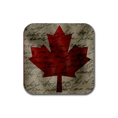 Canada Flag Rubber Coaster (square)  by Valentinaart