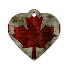 Canada Flag Dog Tag Heart (two Sides) by Valentinaart