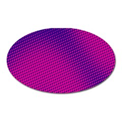 Retro Halftone Pink On Blue Oval Magnet by Simbadda