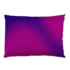 Retro Halftone Pink On Blue Pillow Case by Simbadda
