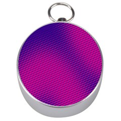 Retro Halftone Pink On Blue Silver Compasses