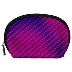Retro Halftone Pink On Blue Accessory Pouches (large)  by Simbadda