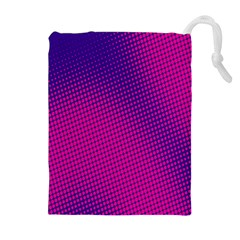 Retro Halftone Pink On Blue Drawstring Pouches (extra Large) by Simbadda