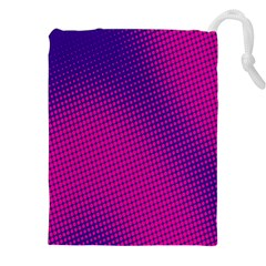 Retro Halftone Pink On Blue Drawstring Pouches (xxl) by Simbadda