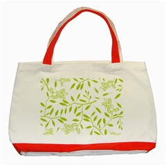 Leaves Pattern Seamless Classic Tote Bag (red) by Simbadda