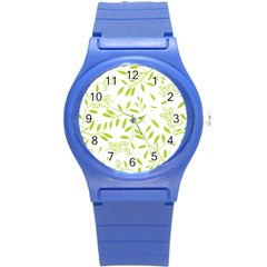 Leaves Pattern Seamless Round Plastic Sport Watch (s)