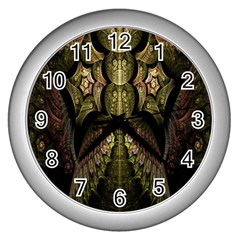 Fractal Abstract Patterns Gold Wall Clocks (silver)  by Simbadda