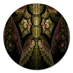 Fractal Abstract Patterns Gold Magnet 5  (round) by Simbadda