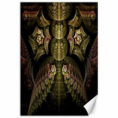 Fractal Abstract Patterns Gold Canvas 12  X 18   by Simbadda