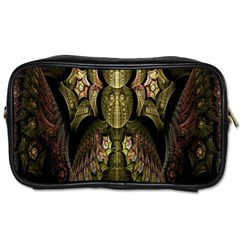 Fractal Abstract Patterns Gold Toiletries Bags 2 Side by Simbadda