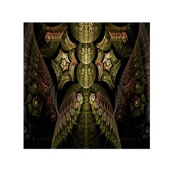 Fractal Abstract Patterns Gold Small Satin Scarf (square)