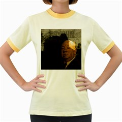 Alfred Hitchcock   Psycho  Women s Fitted Ringer T Shirts by Valentinaart