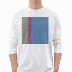 Fine Line Pattern Background Vector White Long Sleeve T Shirts by Simbadda