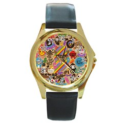 Background Images Colorful Bright Round Gold Metal Watch