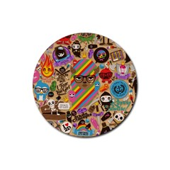Background Images Colorful Bright Rubber Coaster (round)