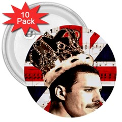 Freddie Mercury 3  Buttons (10 Pack)  by Valentinaart