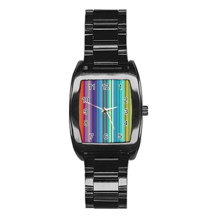 Color Stripes Stainless Steel Barrel Watch