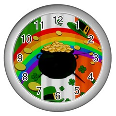 Pot Of Gold Wall Clocks (silver)  by Valentinaart