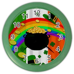 Pot Of Gold Color Wall Clocks by Valentinaart