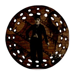 Charlie Chaplin  Round Filigree Ornament (two Sides) by Valentinaart