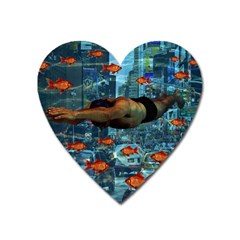 Urban Swimmers   Heart Magnet by Valentinaart