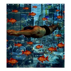Urban Swimmers   Shower Curtain 66  X 72  (large)  by Valentinaart