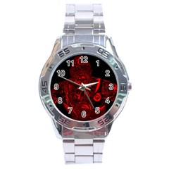 Warrior   Red Stainless Steel Analogue Watch by Valentinaart