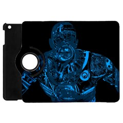 Warrior   Blue Apple Ipad Mini Flip 360 Case