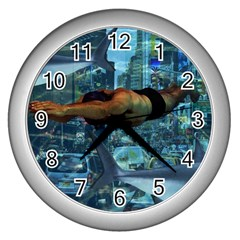 Urban Swimmers   Wall Clocks (silver)  by Valentinaart