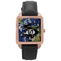 Mother Earth  Rose Gold Leather Watch  by Valentinaart