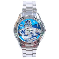 Swimming Angel Stainless Steel Analogue Watch by Valentinaart