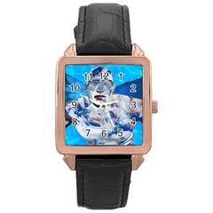 Swimming Angel Rose Gold Leather Watch