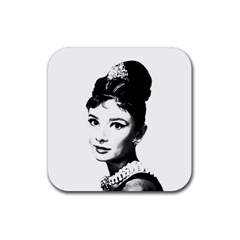 Audrey Hepburn Rubber Square Coaster (4 Pack)  by Valentinaart