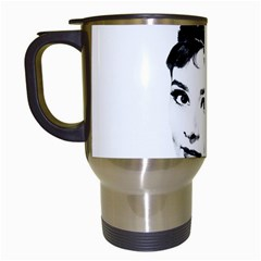 Audrey Hepburn Travel Mugs (white) by Valentinaart