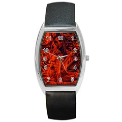 Red Girl Barrel Style Metal Watch by Valentinaart
