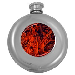 Red Girl Round Hip Flask (5 Oz) by Valentinaart