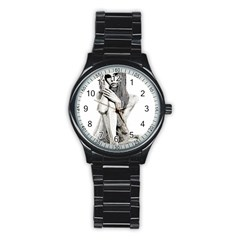 Stone Girl Stainless Steel Round Watch