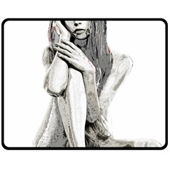 Stone Girl Double Sided Fleece Blanket (medium)  by Valentinaart