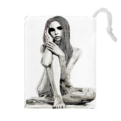Stone Girl Drawstring Pouches (extra Large) by Valentinaart