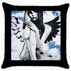 Angel Throw Pillow Case (black) by Valentinaart