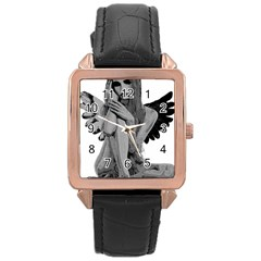 Stone Angel Rose Gold Leather Watch  by Valentinaart