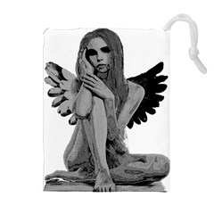 Stone Angel Drawstring Pouches (extra Large) by Valentinaart