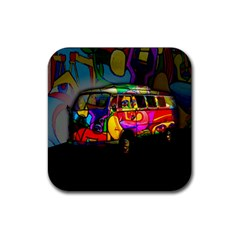 Hippie Van  Rubber Coaster (square)  by Valentinaart