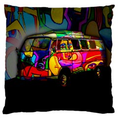 Hippie Van  Large Cushion Case (one Side) by Valentinaart