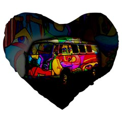 Hippie Van  Large 19  Premium Flano Heart Shape Cushions by Valentinaart
