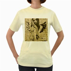 Vintage Angel Women s Yellow T Shirt by Valentinaart
