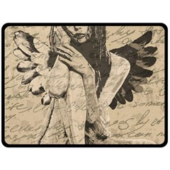Vintage Angel Double Sided Fleece Blanket (large)  by Valentinaart